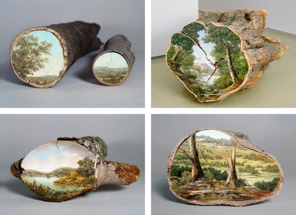 木の断面にアメリカの自然風景を描く (4)