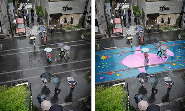 雨が降って路面が濡れると爽やかな絵が浮かびだす!水発色の塗料 (3)