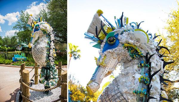 海岸で拾ったゴミで作られた海洋生物の巨大な彫刻 (6)