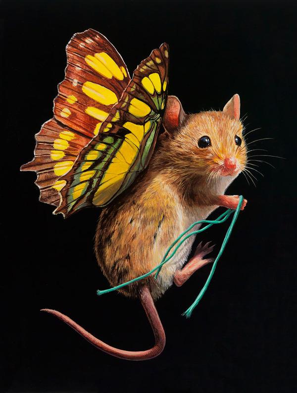 蝶々の羽が生えたネズミやリス小動物を描いた絵 (10)