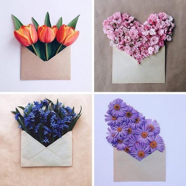 クラフト封筒に入れられた花束 (1)