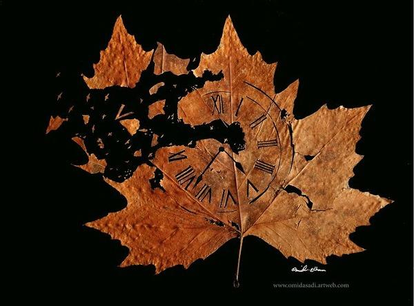 脆くて繊細な落ち葉にモチーフを彫る!カッティングアート (7)