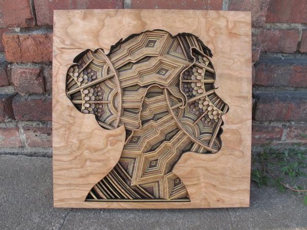 レーザーカットで作る!フラクタルな内部構造を持つ肖像画 (1)