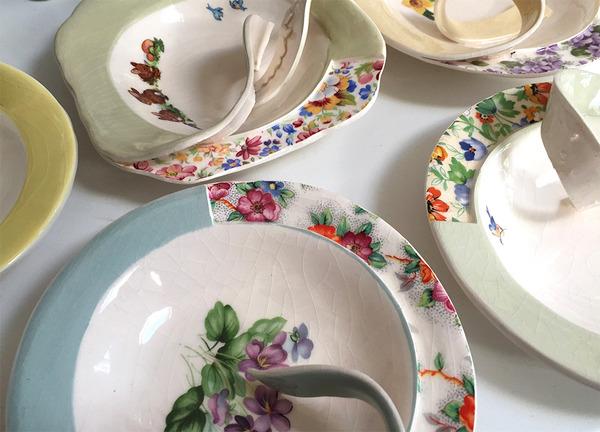 すんごい盛り付けしにくそう。ペロリと捲れた陶器のお皿 (1)