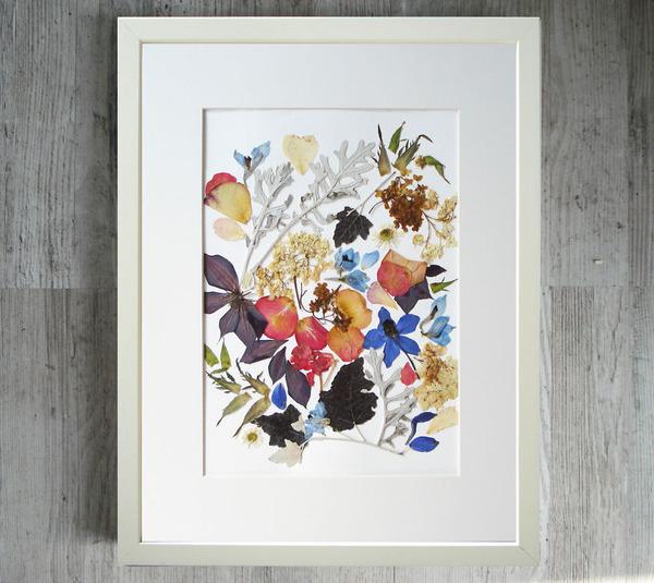 葉や花で自然を描く!植物を素材にした押し花の絵 (12)