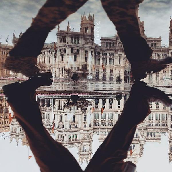 パラレルワールド!水たまりに反射する街の風景写真 (5)