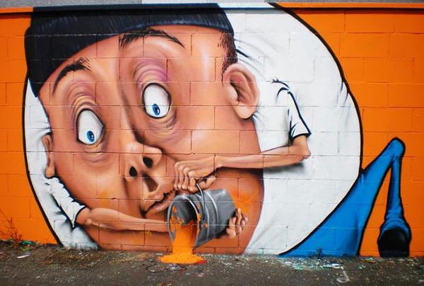 3Dペイントによる壁画ストリートアート 2