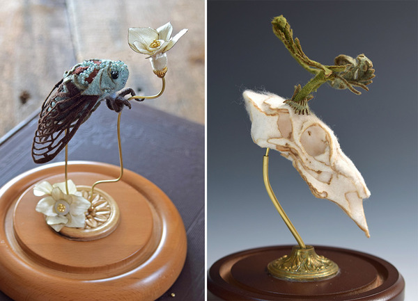 ウールやシルクから作られた骨格標本アート (2)