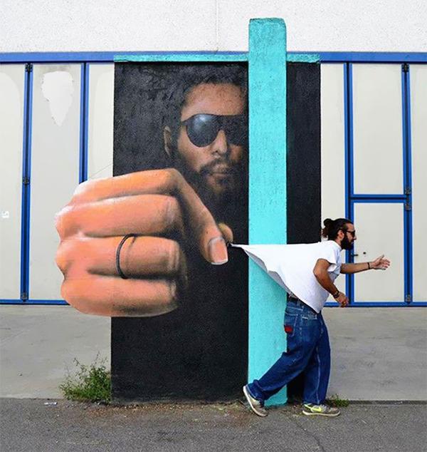 3Dペイントによる壁画ストリートアート 3