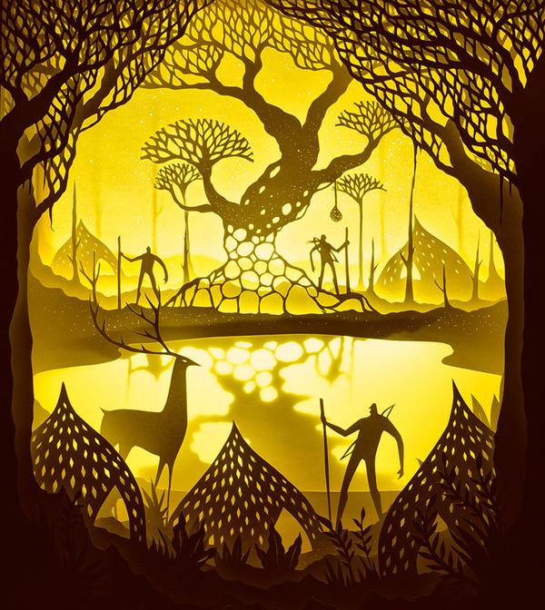 紙のジオラマ!幻想的な架空世界を描くペーパーアート (11)