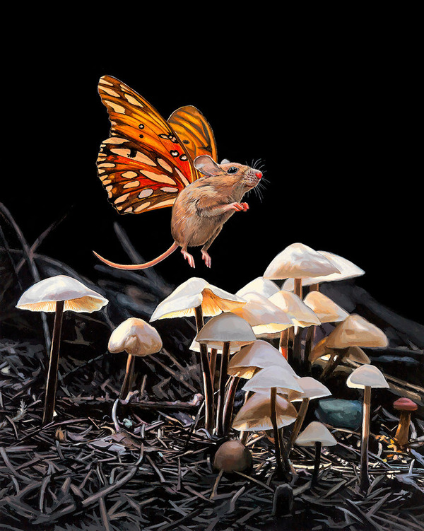 蝶々の羽が生えたネズミやリス小動物を描いた絵 (5)