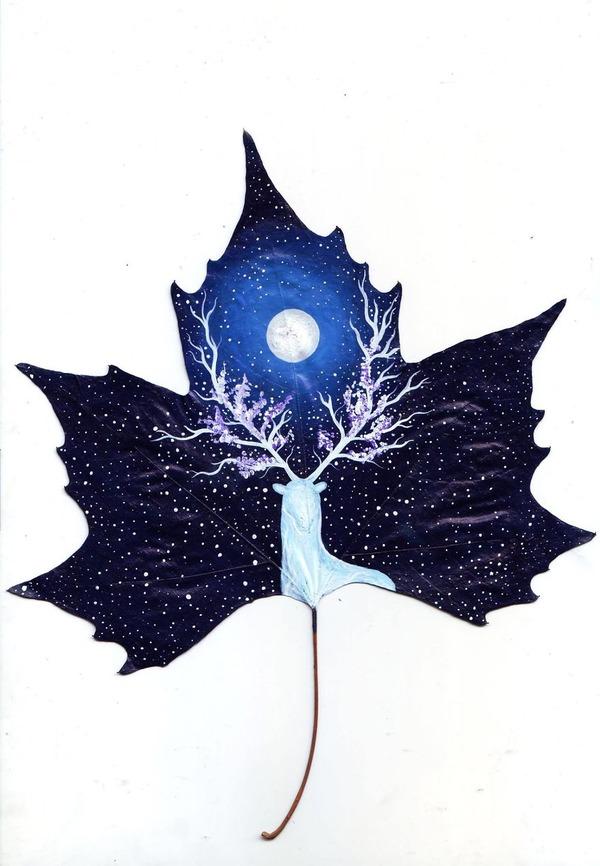 落ち葉に描かれたファンタジーなイラストレーション (15)