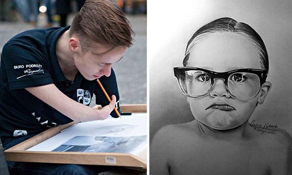 両腕に障がいを持ったポーランドの画家 Mariusz Kedzierski (13)