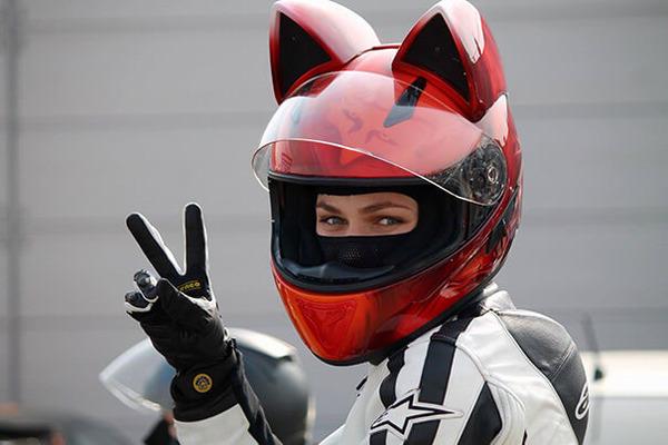 猫ヘルメットがクール!ネコ耳!二輪用フルフェイスヘルメット (9)