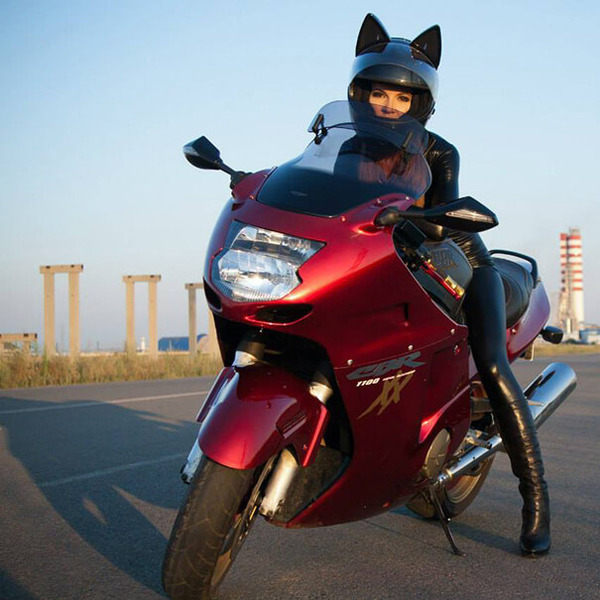 猫ヘルメットがクール!ネコ耳!二輪用フルフェイスヘルメット (10)