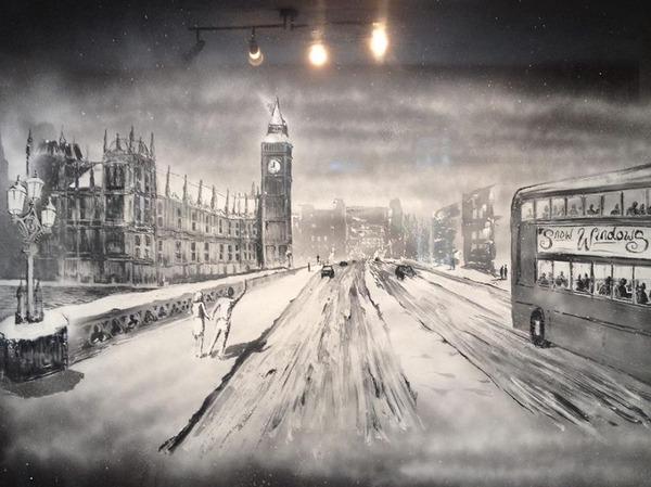 クリスマスシーズン!スノースプレーで窓に描く雪景色のアート (3)