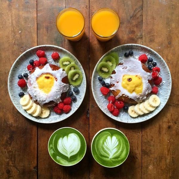 美味しさ2倍!毎日シンメトリーな朝食写真シリーズ (46)