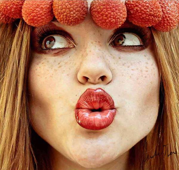 奇抜なフルーツメイク!果物に触発されたセルフポートレート (8)