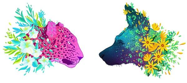 花で彩られた絶滅危惧種の動物の色鮮やかなイラスト (1)