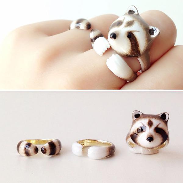 三つで一つの動物指輪。かわいいアニマルリング! (7)