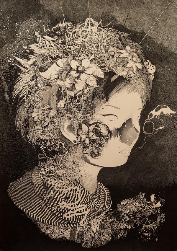 自然や動物で装飾された女性の肖像をインクで描いたイラスト (14)