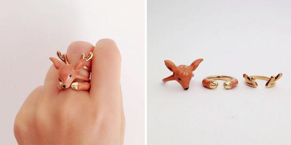 三つで一つの動物指輪。かわいいアニマルリング! (2)
