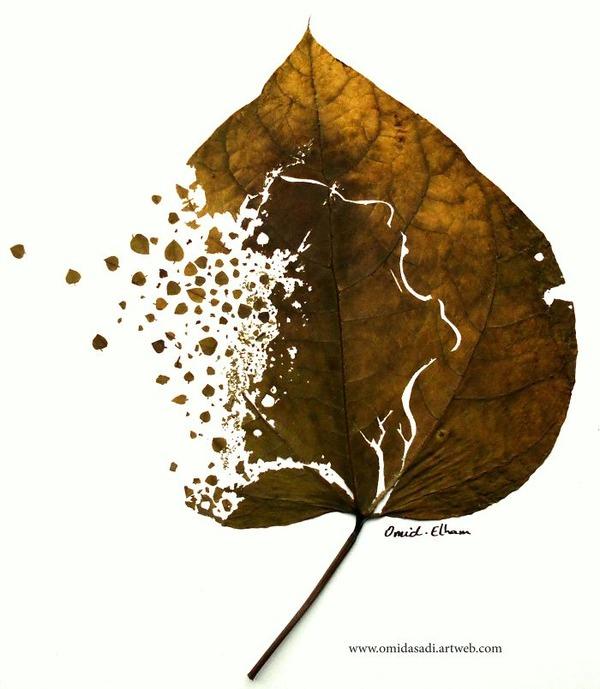 脆くて繊細な落ち葉にモチーフを彫る!カッティングアート (2)