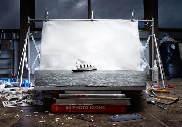 海上に映るタイタニック号の最後の姿,ミニチュアジオラマ,1912