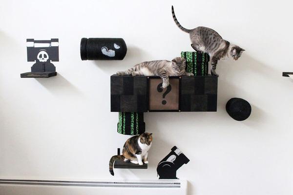 スーパーマリオのステージ風!猫用ジャングルジム(壁)(2)