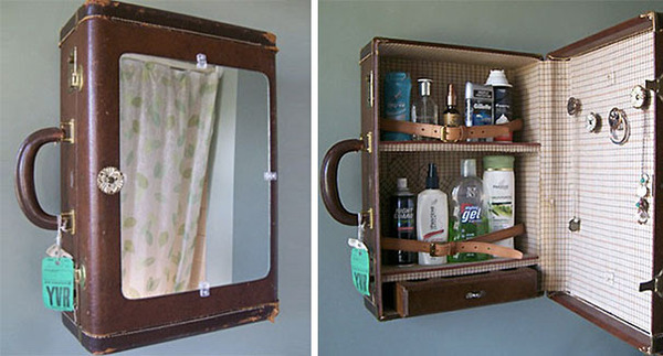 #8 Old Suitcase Turned Into A Medicine Cabinet
