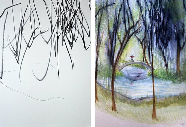 コラボレーション!子供の落書きとママが描く水彩画 (3)