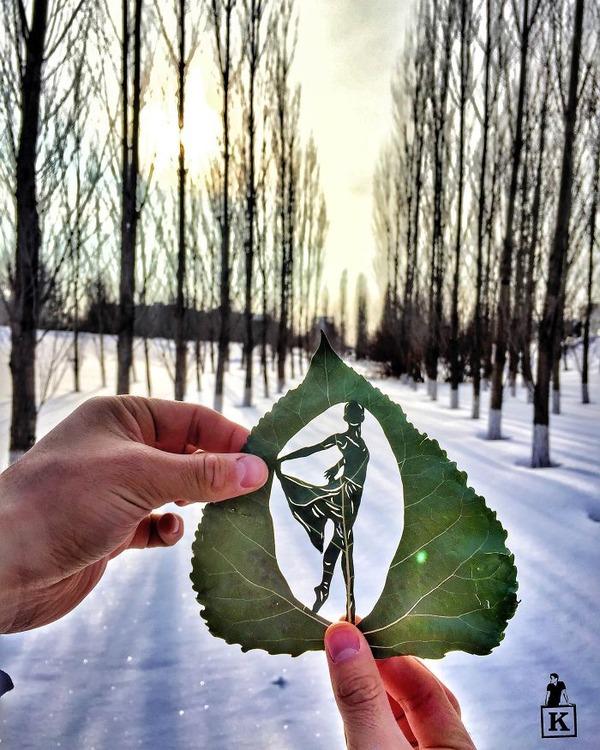 シンプルな美しさ。葉っぱの切り絵アート (3)