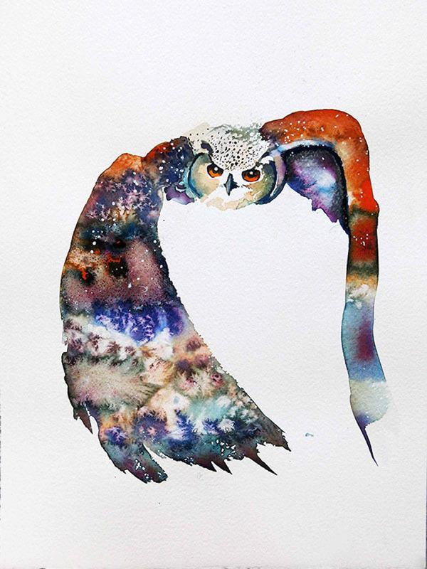 フクロウやワシなどの鳥類を描いたカラフルな水彩画 (1)