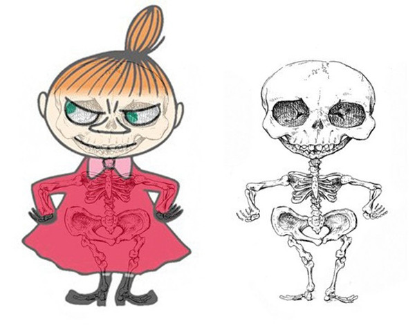 解剖学?漫画やアニメのキャラクターに骨付けしたイラスト! (8)
