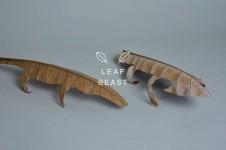 葉っぱで作ったシンプルでかわいい獣の彫刻シリーズ「葉獣」