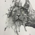インクを注ぎ飛び散らせてカオスなイラストレーションを描く