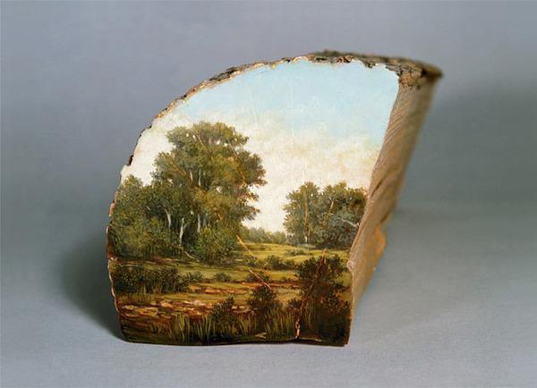 木の断面にアメリカの自然風景を描く (19)