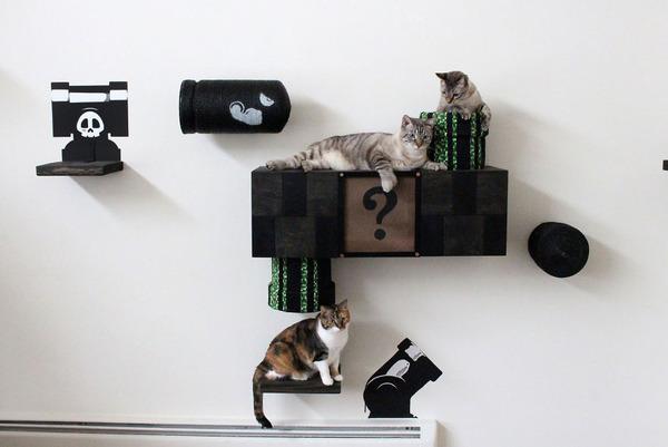 スーパーマリオのステージ風!猫用ジャングルジム(壁)(6)