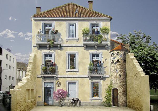 生活空間があるみたい。建物の壁に建物を描く壁画 (3)