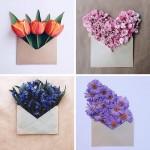 手紙に花を。クラフト封筒に美しい花束を入れた写真シリーズ