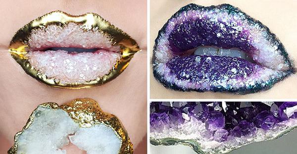 アメジストの唇!口元が水晶ジオードになるリップのアートメイク (3)