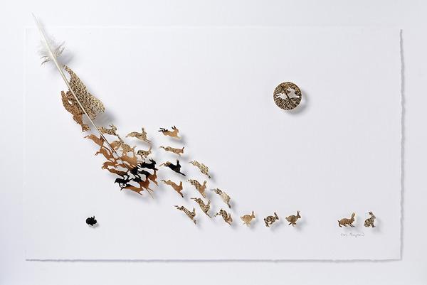 鳥の羽から切り取られた鳥類や動物のモチーフ (8)