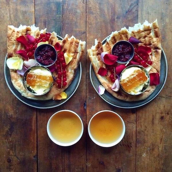 美味しさ2倍!毎日シンメトリーな朝食写真シリーズ (33)