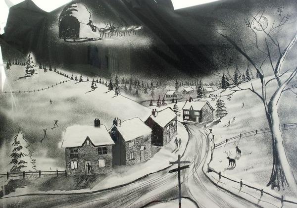 クリスマスシーズン!スノースプレーで窓に描く雪景色のアート (6)