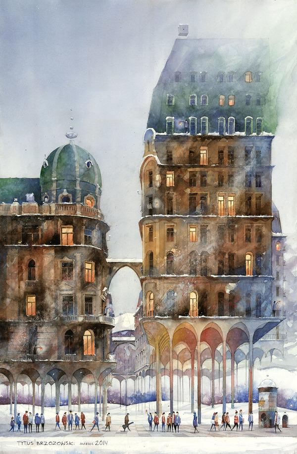19世紀のポーランドの街並みに触発された都市の水彩画 (5)
