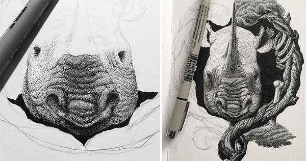 ひたすらに点を打って描く!超繊細な手描きドット絵 (7)