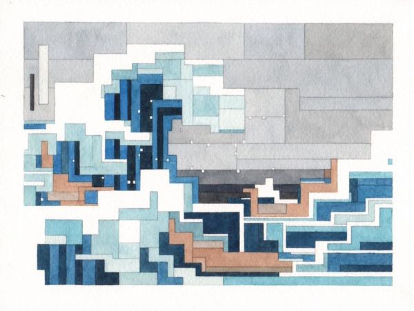 有名な絵画を図形で再構築して描いた彩画 (8)