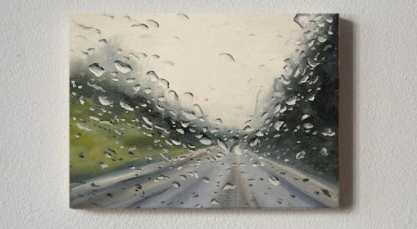 雨に濡れた車のフロントガラスから覗く世界を油絵で表現 (8)