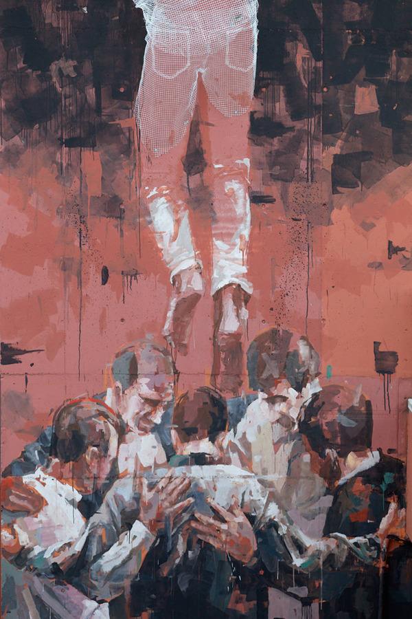 人間の立体的な壁画アート (4)