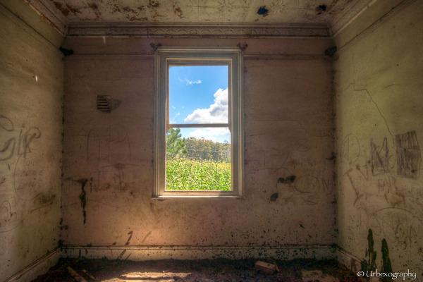 廃墟の部屋の窓から覗く風景 16